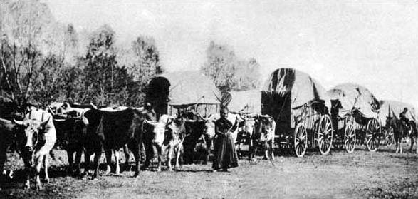 Wagon trains heading west on the Santa Fe Trail