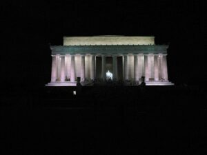Lincoln Memorial at night.