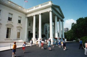 Tourists in front of the North Portico of The White House