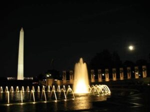 A perfect summer evening at the World War II monument in Washington DC