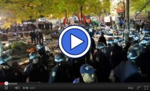 Occupy Wall Street protestors being evicted from Zuccotti Park