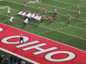 The Ohio State defense pins Wisconsin against the goal line.