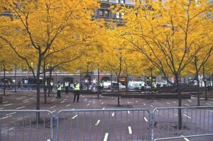 Zuccotti Park on November 15th after the protestors were evicted.