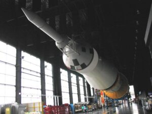 The Saturn V rocket in its 68,000 sq ft exhibit hall at the US Space and Rocket Center