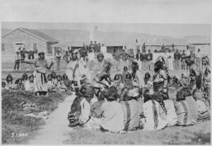 Tribal gathering at an Indian reservation in the 1890's.
