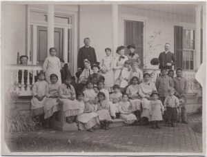 Pratt and his students on the front steps of the main building at Carlisle Indian school.