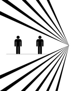 Ponzo illusion to explain height differences