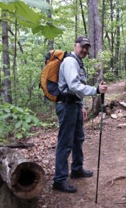 Malcolm Logan getting ready to set out on a hike.