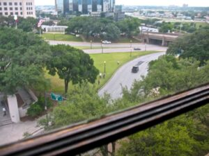 View from the sixth floor window where Oswald shot Kennedy.