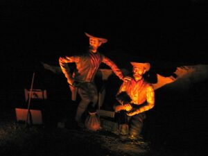 Statue of Jesse James and his brother at Meramec Caverns in Missouri.