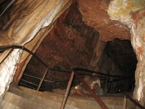 A flight of steps in Meramec Caverns in Missouri.