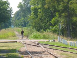 Train tracks leading out of Tutwiler, MS where W.C. Handy first heard the blues.