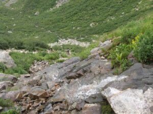 Headwall portion of the Tuckerman Ravine trail looking back.