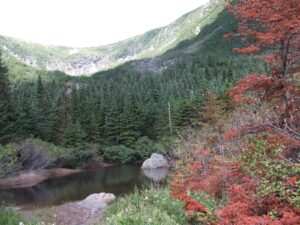 View across a pond near the halfway point of Tuckerman Trail to the bowl of Tuckerman Ravine.