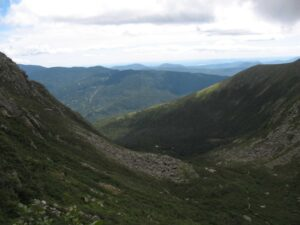 View down Tuckerman Ravine from the top of the head wall.