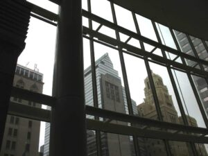 The buildings of downtown Rochester, MN from inside the Gonda building