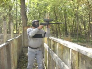 Randy Gray playing paintball