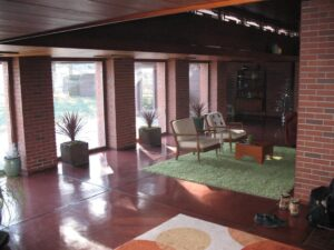 Main living area of the Schwartz House in Two Rivers, WI