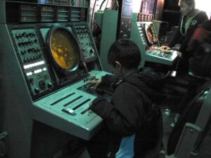 Radar station aboard the USS MIdway in San Diego