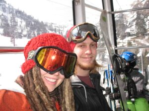 Cambelle and Alex in the gondola at Squaw Valley