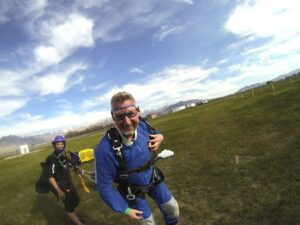 Malcolm Logan after parachuting at Skydive Utah