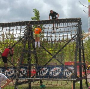 Cargo net obstacle at the Warrior Dash in Walker, MI