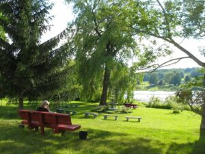 A lovely and serene setting, the lakeside park at Lily Dale, New York