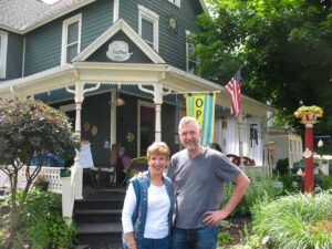 My mother and I outside the coffee shop in Lily Dale.  We were skeptical about Spiritualism.