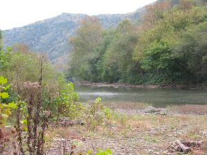 Site of the Hatfield homestead on the Tug River near Matewan, West Virginia.
