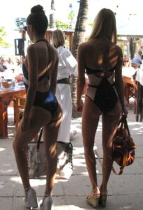 Swim suit models at the Nikki Beach Club in Miami Beach