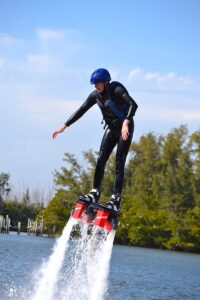 Malcolm Logan begins to slide backward on his Flyboard