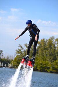 Malcolm Logan begins to slide backward on his Flyboard