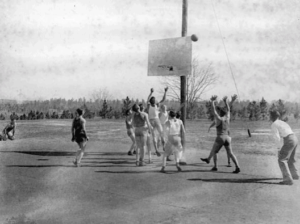 Boys playing basketball at the Florida Industrial School for Boys