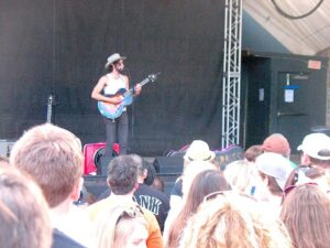 Shakey Graves entertaining the crowd at Stubbs BBQ in Austin.
