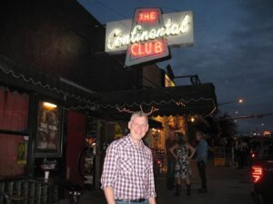 Malcolm Logan outside The Continental Club in Austin