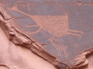 Monument valley petroglyph of a pronghorn antelope