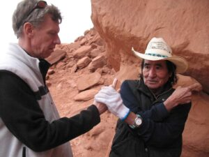 Don Mose explains the hand prints at Navajo Valley