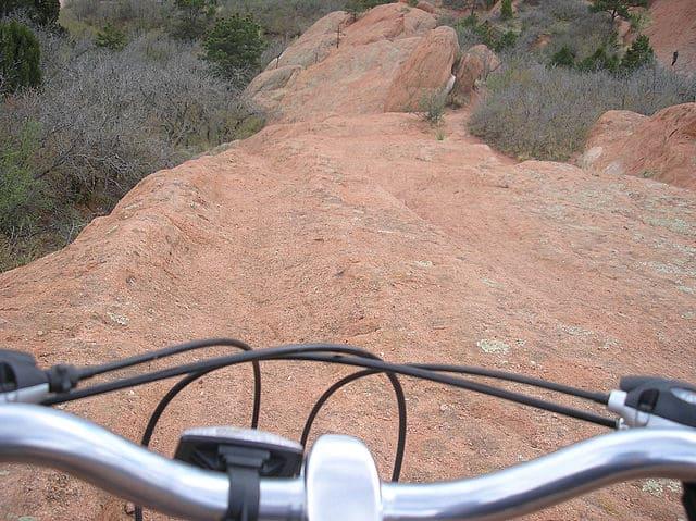 Riding downhill at Moab