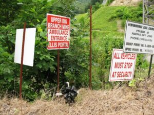 Warning signs outside Upper Big Branch Mine