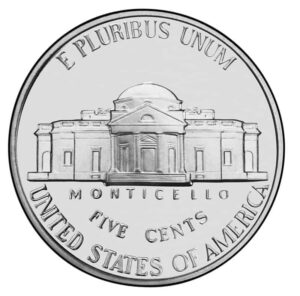 Monticello as depicted on an American nickel
