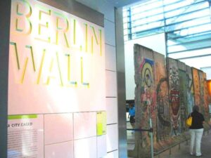 A section of the Berlin Wall at the Newseum