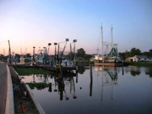 Fishing boats line the wharves at Golden Meadows, LA.