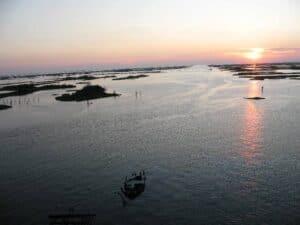 Sunset over the marshlands of Jefferson Parish.