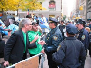 Cops confront protestors at Occupy Wall Street in New York.