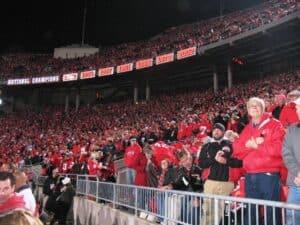 Buckeye fans look on in consternation as Wisconsin takes the lead.
