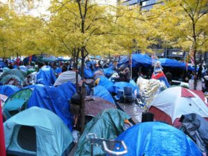 Tent city in Zuccotti Park for Occupy Wall Street.