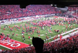 A fan's fist is raised above the crowd as Ohio State defeats Wisconsin.