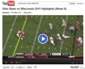 Video of game highlights of Wisconsin vs Ohio State