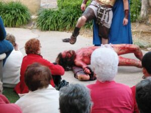 Jesus kicked and beaten before a rapt audience at The Holy Land Experience.