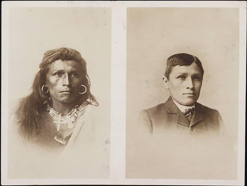 Before and after images of an Indian school student in the 1880's.